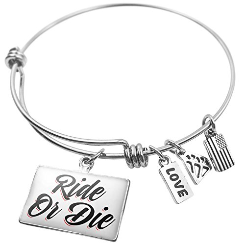 NEONBLOND Expandable Wire Bangle Bracelet Vintage Lettering Ride Or Die -