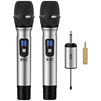Amazon com: Wireless Microphone System, Alvoxcon DUAL UHF