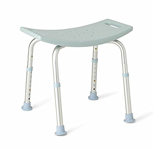 Bath Bench Adjustable Height, Lightweight Shower Bench with Non-slip Seat, By Healthline Trading ()