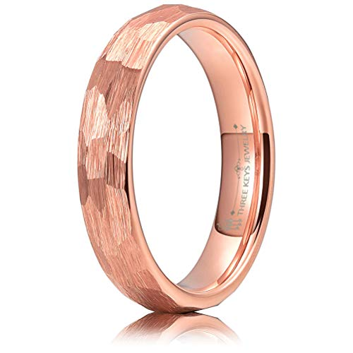 THREE KEYS JEWELRY 4mm Hammered Irregular Diamond-Shaped Brushed Rose Gold Tungsten Wedding Ring Engagement Band Domed Size 4mm Hammered Band Ring