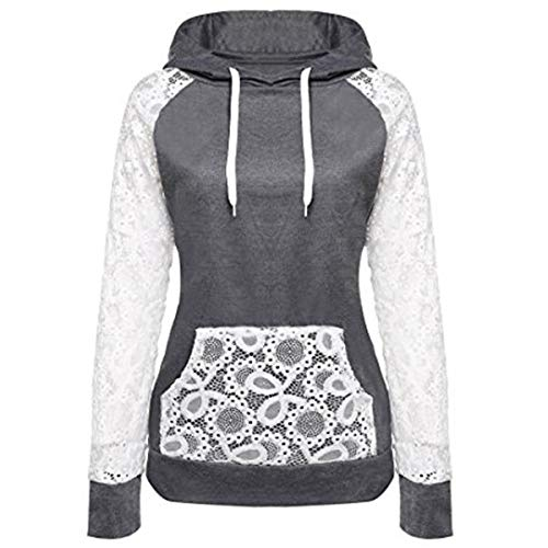 Hooded Lace (KESEE Clearance Coat ☀ Women Sheer Lace Long Sleeve Hooded Patchwork Sweatshirt With Pockets (M, Dark Gray))