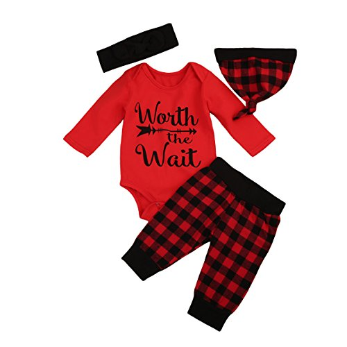 Toddler Kids Baby Boys Clothes Red Romper Jacket+ Plaid Pants Hat Headband Outfits Set (6-12M, Red)