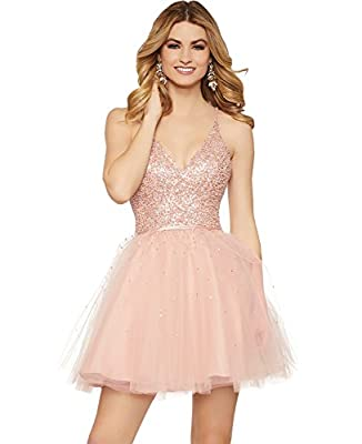 Women's Beading A Line V Neck Tulle Homecoming Dress Short Formal Prom Party Gown