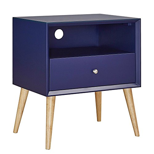 Victorian Magazine Rack (Mid Century Wood Accent Nightstand End Side Table With Tapered Light Wood Legs, 1 Drawer and Shelf - Includes Modhaus Living Pen (Navy Blue))