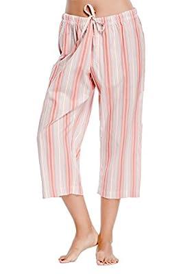 CYZ Women's 100% Cotton Petite Low Rise Woven Pajama Capri