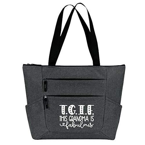 Grandma Tote Bag for Women - Large, Durable Zippered Totes with Pockets - Perfect Gift for Grandma, Nana, Grandmothers (TGIF Fabulous Grandma Gray)