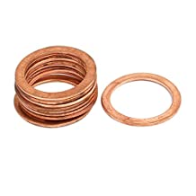 uxcell® 10pcs 18mmx24mmx1mm Copper Flat Ring Sealing Crush Washer Gasket