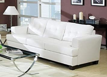 Miraculous Acme 15095B Diamond Bonded Leather Sofa With Wood Leg White Pdpeps Interior Chair Design Pdpepsorg
