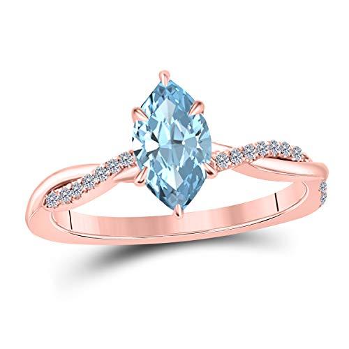 1.20 Ct Marquise Shape Created Aquamarine 14K Rose Gold Finish Swirl Style Engagement Ring Size 9