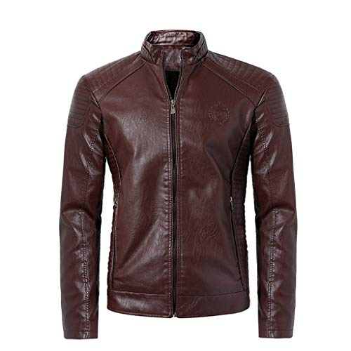 OMINA Casual Leather Jacket for Men, 2019 Fashion Casual Autumn Winter Oversize Outwear Long-Sleeved Vintage Zipper Coat