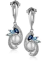 Sterling Silver Freshwater Cultured Pearl and Mixed Blue Topaz Diamond Drop Earrings (1/10 cttw)
