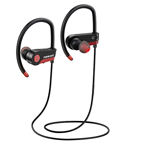 Price comparison product image INSMART Bluetooth Headphones, Wireless Bluetooth Headphones, bluetooth headphones with mic, IPX4 Waterproof, HD Sound with Bass, Ear Hooks Design for Running Gym, Long battery life for iPhone7 Android