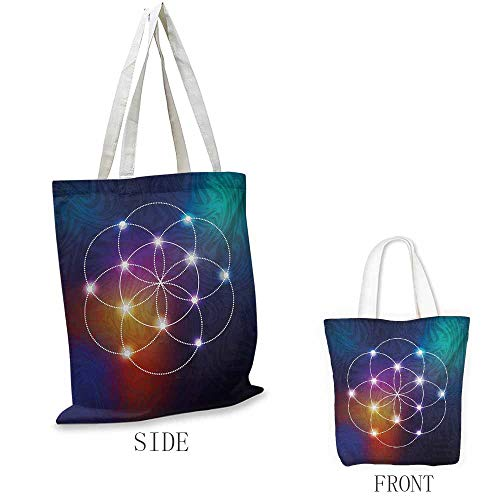 Circle Pattern shopping bag Digital Overlapping Circles Grid Geometric Centered on Triangles Esoteric Energy Motif Great for shopping W15.75 x L13.78 Inch Indigo