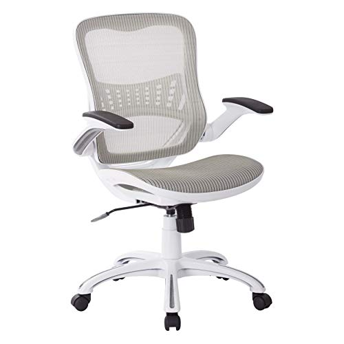 OSP Home Furnishings Riley Office Chair with White Mesh Seat and Back Black