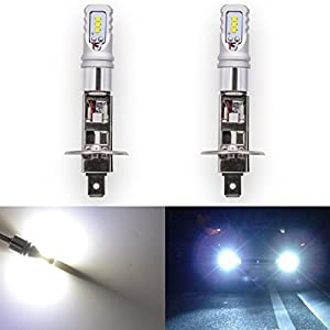 KaTur Extremenly Bright TOP Advanced CSP Philips LED Chips Car H1 Daytime Running DRL Led Bulbs or Fog Lights - 6500K Xenon White 1600LM Waterproof IP68 80W - 3 Yr Warranty
