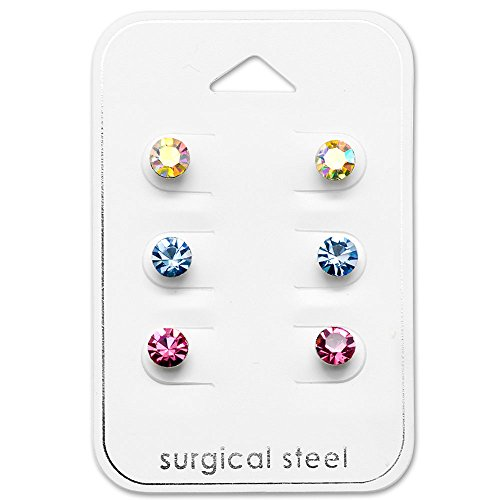 Stainless Steel (SET OF 3) Assorted Round Crystal Stud Earrings 29086