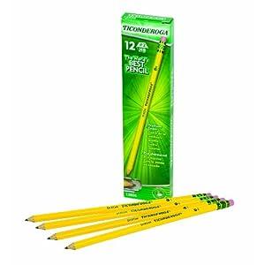 Dixon Ticonderoga Wood-Cased #2 HB Pencils, Pre-Sharpened, Box of 12, Yellow (13806)