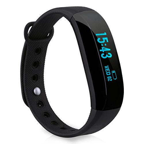 Cubot V2 Bluetooth Smart Bracelet Smart Watch Bracelet Wristband Fitness Tracker with Pedometer Step Counter Calorie Sleep Monitor Call/SMS Reminder Remote Photograph for Android IOS, Black