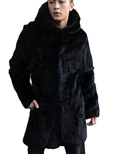 Aishang Mens Black Faux Fur Coat Warm Winter Overcoat Parka With A Hood