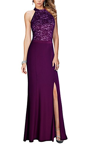 Maxi Dress Long Vintage Purple Halter Floral REPHYLLIS Women's Wedding Lace ZqwvH