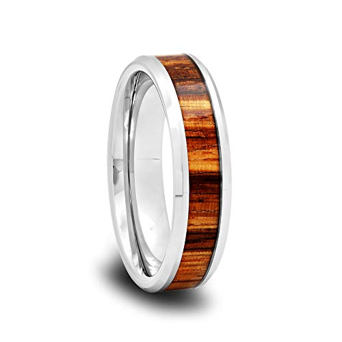 Tungsten Wedding Band with Zebra Wood Inlay and Polished Beveled Edges -