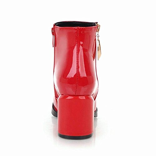 Courtes Bloc Ferme YE Zip Talon Bottine Bottes Boots Hiver Plateforme Haut Femme Vernis Chunky U4qXrn4P