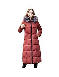 PENATE Women's Long Slim Down Jacket Winter Warm Solid Plush Hooded Cotton Coat
