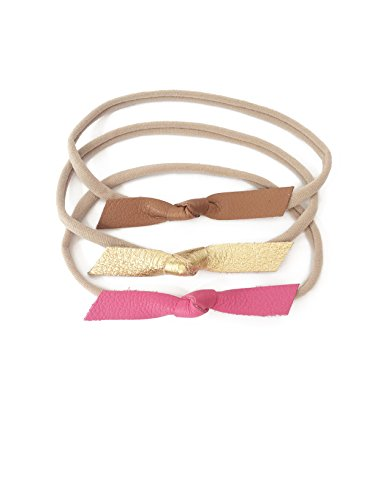 Indie Bow Co Handmade Genuine Leather Knot Bow Headbands Set of 3 in Classic Tan, Gold, and Bright Pink Bow Size 3.25