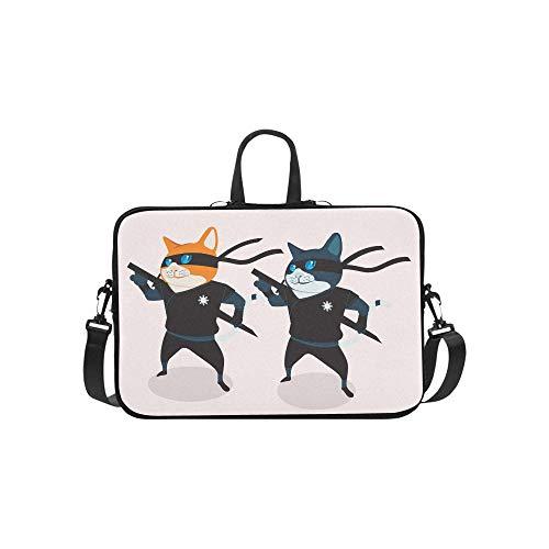 Black Cool Ninja Cat Pattern Briefcase Laptop Bag Messenger ...