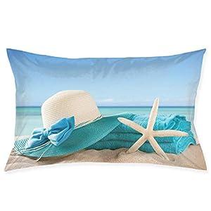 XZfly Fodera per Cuscino da Viaggio Vacanze estive Spiaggia Mare Stella Marina Vacanza Scisto di Sabbia Cappello Asciugamani Gusci Federa con Cerniera 3 spesavip