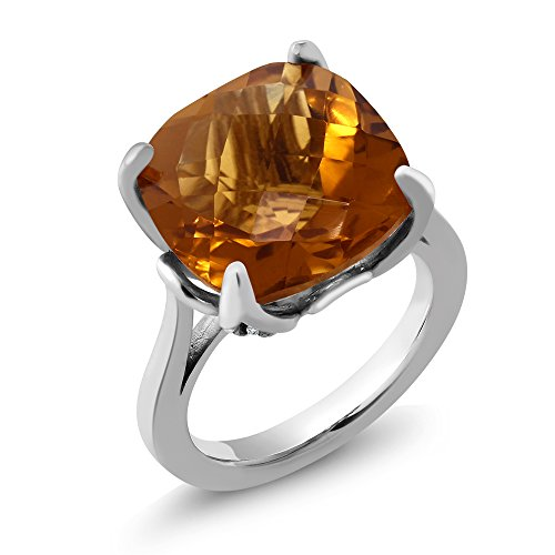 (Gem Stone King 8.47 Ct Cushion Checkerboard Whiskey Quartz Yellow Sapphire 925 Sterling Silver Ring (Size 5))