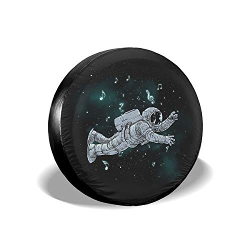 Spare Tire Cover, Astronaut Music Printing Wheel Protectors PVC Waterproof Dustproof for Jeep Trailer SUV RV and Many Vehicles(14,15,16,17 Inch) -