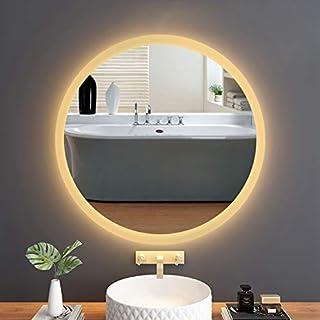 "MOTINI Vanity Mirror LED Lighted Bathroom Mirror Wall Mounted Illuminated Make Up Mirror Anti-Fog Rectangle Frameless Wall Mirror, 18""x18"""