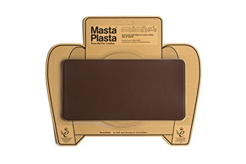 "MastaPlasta, Leather Repair Patch, First-Aid for Sofas, Car Seats, Handbags, Jackets, Plain, Mid Brown Medium Stitch 8""x4"""