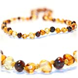 The Art of CureTM *SAFETY KNOTTED* - MultiColored - (Unisex) - Certified Baltic Amber Baby Teething Necklace Highest Quality Guaranteed- Anti Flammatory, Drooling & Teething Pain. Easy to Fastens with a Twist-in Screw Clasp Mothers Approved Remedies!