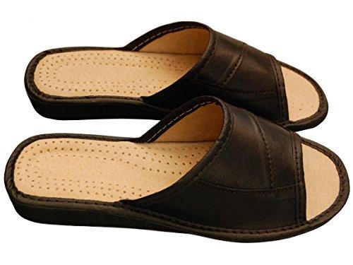 Noir 41 35 Chaussons Taille Becomfy Confort Pantoufles Cuir Naturel PWw8qz
