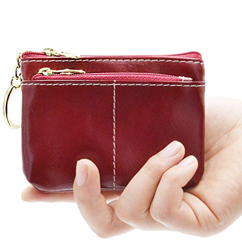 Leather Double Coin Purse - Women Genuine Leather Coin Pouch Purse - Double Zipper Change Wallet Card Holder with Key Chain