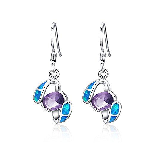 Sinlifu Simulated Opal Blue & Amethyst Purple Topaz Silver Women Dangle Earring ()