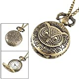 Ladies Bronze Tone Owl Hunter Case Floral Necklace Pocket Watch from George-Danos
