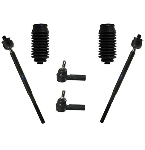 PartsW 6 Pc Front Steering Kit for Chevrolet Prizm/Geo Prizm/Toyota Corolla/Inner & Outer Tie Rod Ends, Rack and Pinion Bellow Boots