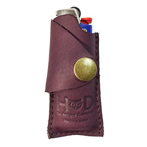 Rustic Leather Lighter Protective Case Handmade by Hide & Drink :: Lavender