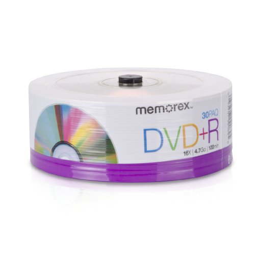 Memorex 32020030154 DVD+R 16x Eco Spindle Base, 30 Pack