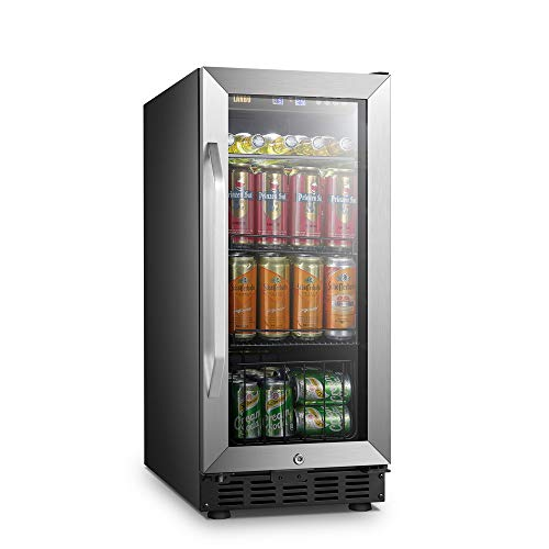 LANBO Compact Beverage Refrigerator, 70 Cans Small Compressor Beverage Cooler with Stainless Steel Glass Door, Safety Lock and Digital Memory Touch Control