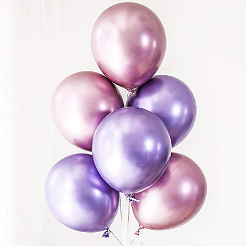 (60pcs Purple Pink Chrome Shiny Metallic Latex Balloons 12inch Perfect for Birthday Party Bridal Baby Shower Engagement Wedding Party Decor (Pink,Purple))