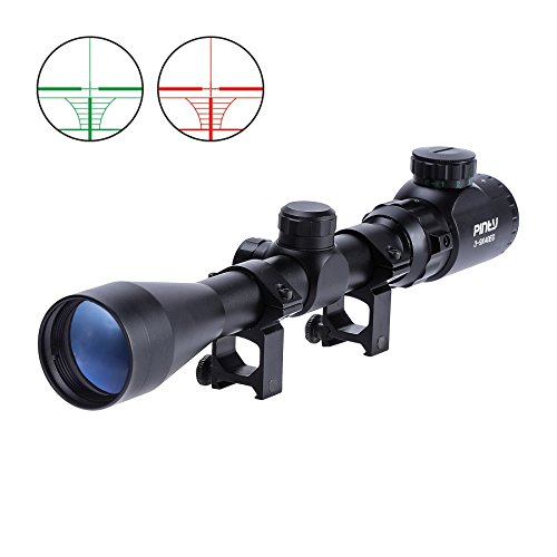 Pinty 3-9X40 Red Green Rangefinder Illuminated Optical Rifle Scope ()