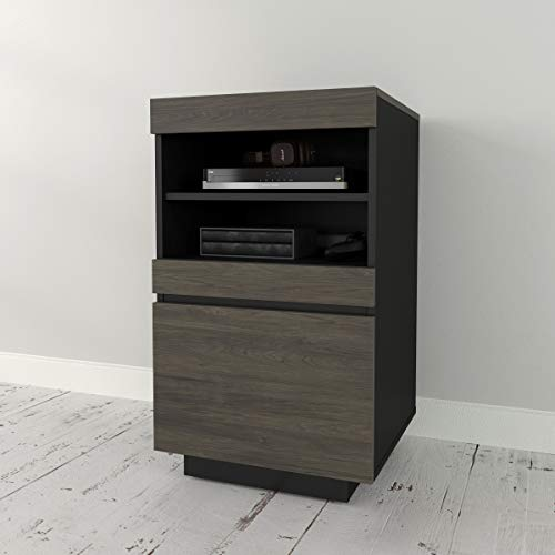 Nexera 116245 Lima, Bark Grey and Black Audio Tower (Component Wood)