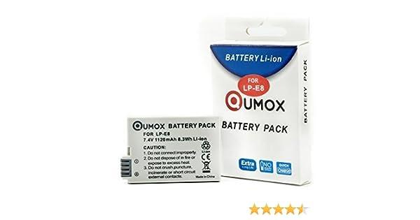 QUMOX Batería Recargable 1120mAh 7.2V para Canon LP-E8 LPE8 EOS Kiss X4 550D 600D 650D 700D T4i: Amazon.es: Electrónica