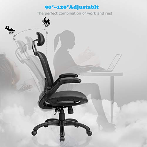 Computer Desk Office Chair, Ergonomic Executive Mesh Task Chair Lumbar Support for Office Chair with Flip-up Arms by BestOffice (Image #1)
