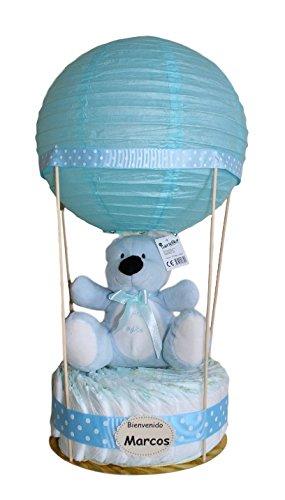 Globo de pañales azul - tarta de pañales original ideal como regalo para bebé - tarta