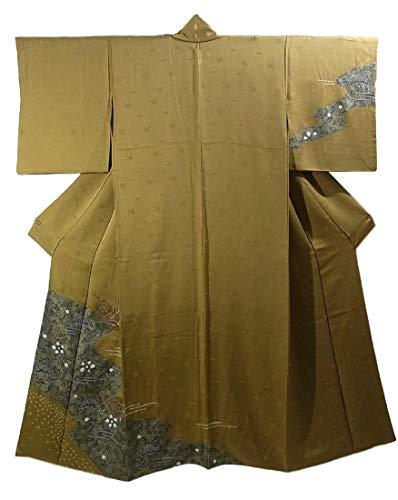 流すアレンジドットリサイクル 着物 訪問着 絞り 刺繍 正絹 流水に扇面 一つ紋